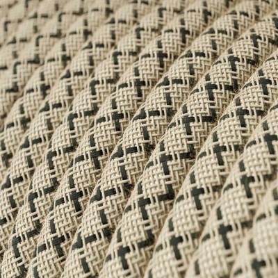 """Rund textilkabel """"Lozenge"""" RD64 i rustikt linne och antracit bomull."""