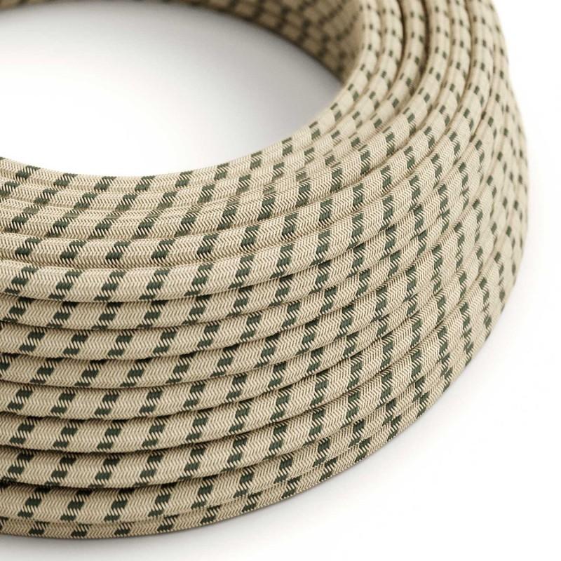 """Rund textilkabel """"Stripes"""" RD54i rustikt linne och antracit bomull."""