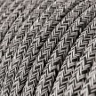 Rund textilsladd RS81 Tweed Onyx, Rustikt linne, med glittrig svart bomull.