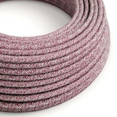 Rund textilkabel Tweed RS83 vinrött rustikt linne och glittrig röd bomull.