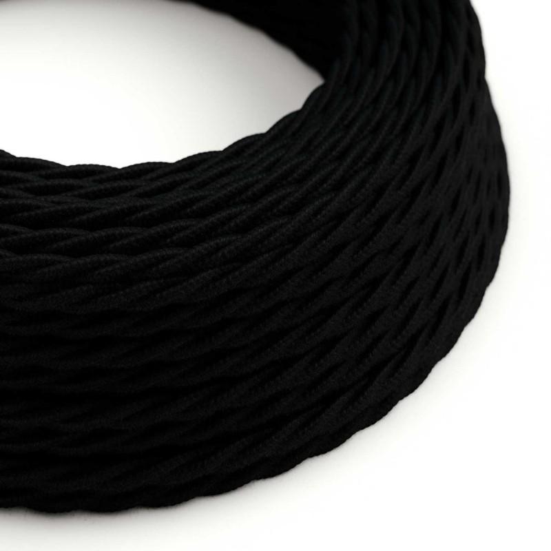 Tvinnad textilkabel, svart bomull TC04