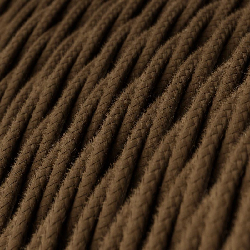 Tvinnad textilkabel Bomull, TC13 Brun