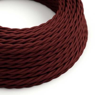 Tvinnad textilkabel med silkeseffekt Vinröd TM19