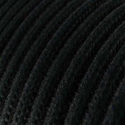Rund enfärgad textilsladd av bomull RC04 Svart