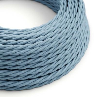 Tvinnad enfärgad textilsladd av bomull TC53 Ocean