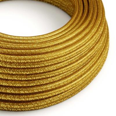Rund skimrande Textilkabel täckt med viskos RL05 Guld