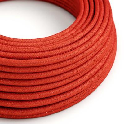 Rund glittrande textilkabel täckt med viskos RL09 Röd