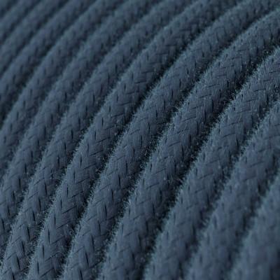 Rund enfärgad textilsladd av bomull RC30 Stone