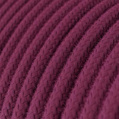 Rund enfärgad textilsladd av bomull RC32 Vinröd