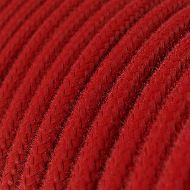 Rund enfärgad textilsladd av bomull RC35 Eldröd