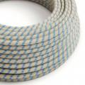 Rund textilsladd av bomull Havsblå Randig bomull och linne RD55