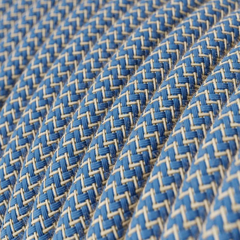 Rund textilsladd av bomull Havsblå ZigZag bomull och linne RD75