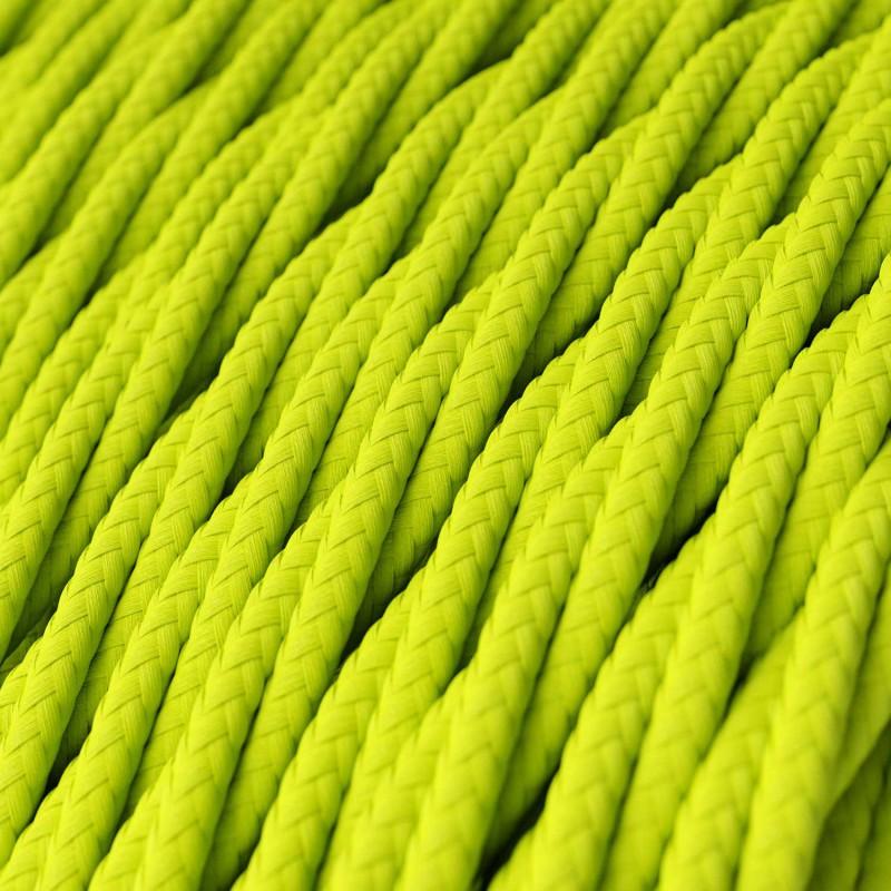 Tvinnad enfärgad textilsladd av viskos TF10 Gul neon