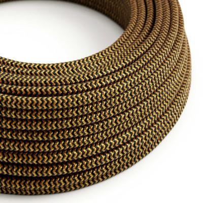 Rund textilkabel i ZigZag-mönstrad viskos - RZ24 Guld och Svart