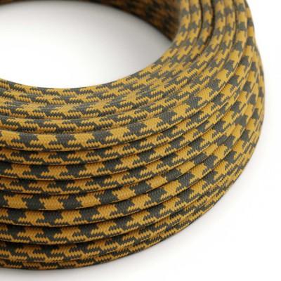 Rund textilkabel i Bomull - Tvåfärgad Golden Honey och Antracit RP27