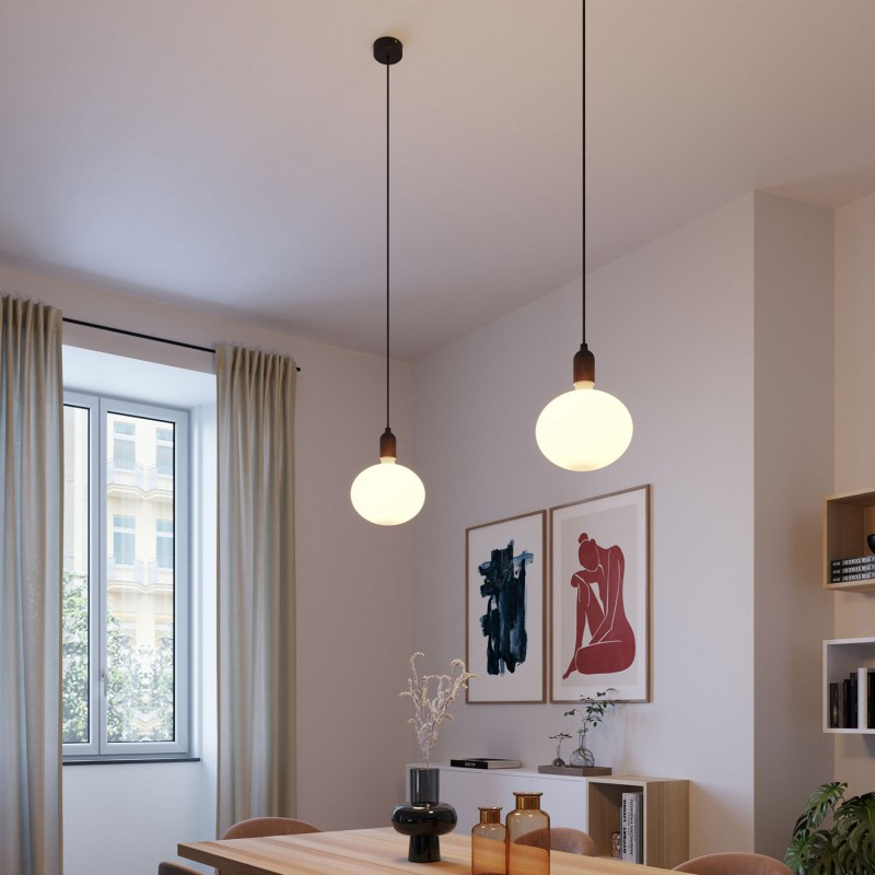 Pendant light Made in Italy complete with fabric cable and wood finishingingings
