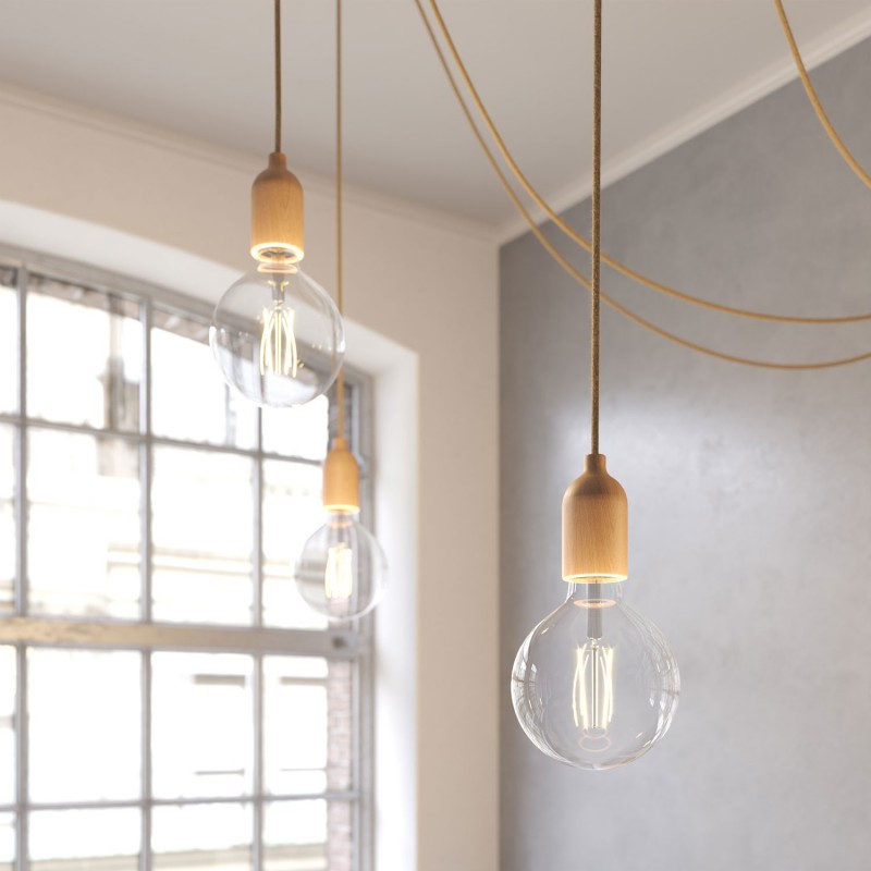 Spider - multiple 4-fall pendant light Made in Italy complete with fabric cable and wood finishing