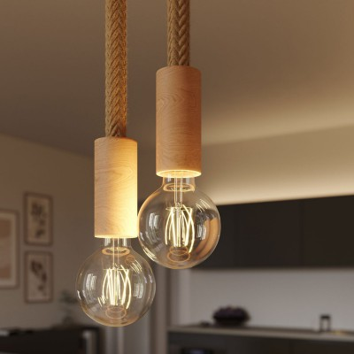 Multiple 2-fall pendant light complete with 2XL rope cable and wood finishing