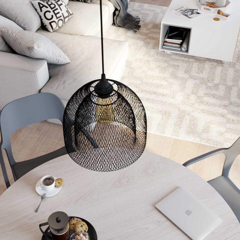 Naked light bulb cage metal lampshade Ghostbell XL with E27 fitting