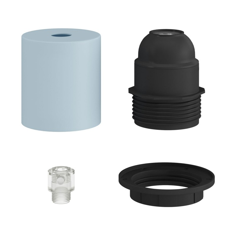 Pastel semi-threaded metal lamp holder E27 kit with hidden cable clamp