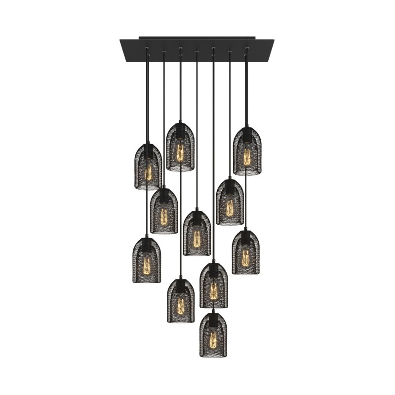11-light pendant lamp with 675 mm rectangular XXL Rose-One, featuring fabric cable and metal Ghostbell lampshade