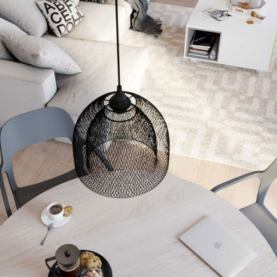 Pendant lamp with textile cable, Ghostbell XL cage lampshade and metal details - Made in Italy