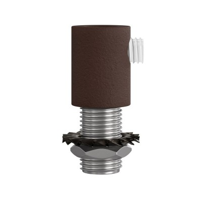 Cylindrical metal cable clamp complete with rod, nut and washer