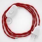 Sladdställ, TM09 Röd Viskos 1,80 m. Välj färg på strömbrytare och kontakt