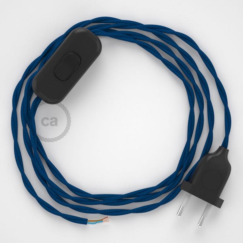 Sladdställ, TM12 Blå Viskos 1,80 m. Välj färg på strömbrytare och kontakt