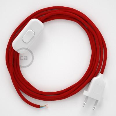 Sladdställ, RM09 Röd Viskos 1,80 m. Välj färg på strömbrytare och kontakt
