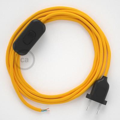 Sladdställ, RM10 Gul Viskos 1,80 m. Välj färg på strömbrytare och kontakt