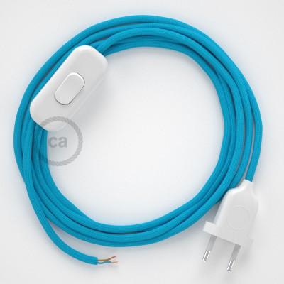 Sladdställ, RM11 Azurblå Viskos 1,80 m. Välj färg på strömbrytare och kontakt