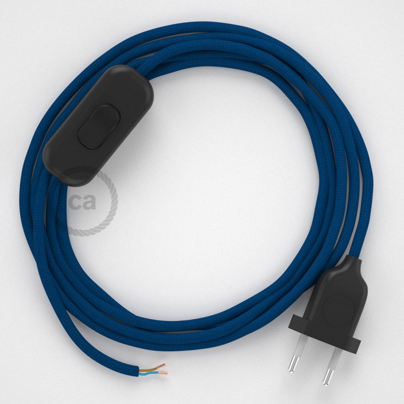 Sladdställ, RM12 Blå Viskos 1,80 m. Välj färg på strömbrytare och kontakt