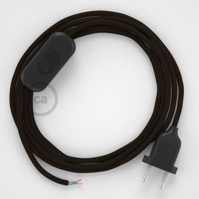 Sladdställ, RM13 Brun Viskos 1,80 m. Välj färg på strömbrytare och kontakt