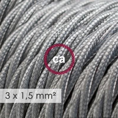 Kraftig tvinnad textilkabel 3x1,50 - viskos Silver TM02