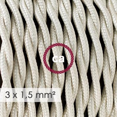 Kraftig tvinnad textilkabel 3x1,50 - viskos Benvit TM00
