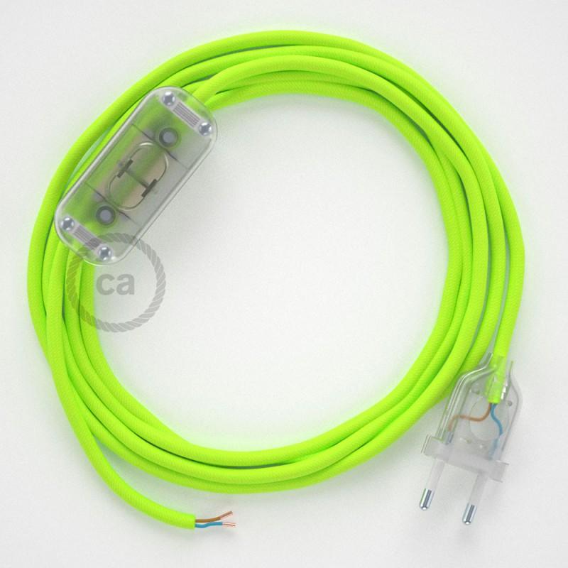 Sladdställ, RF10 Gul Neon Viskos 1,80 m. Välj färg på strömbrytare och kontakt