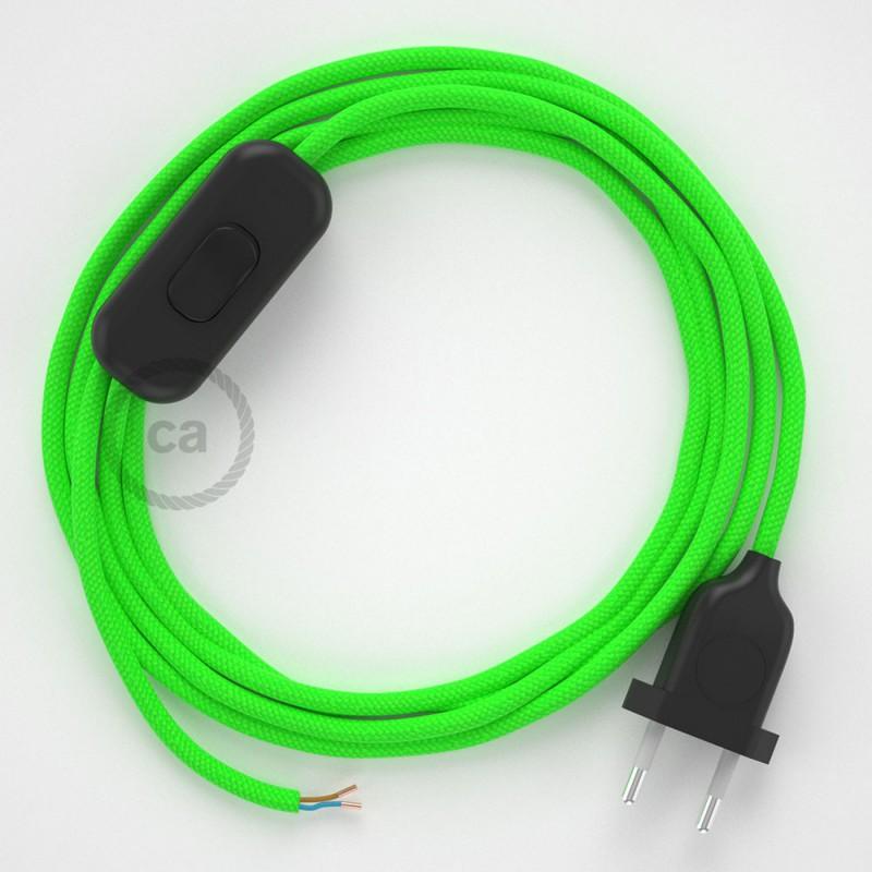 Sladdställ, RF06 Grön Neon Viskos 1,80 m. Välj färg på strömbrytare och kontakt