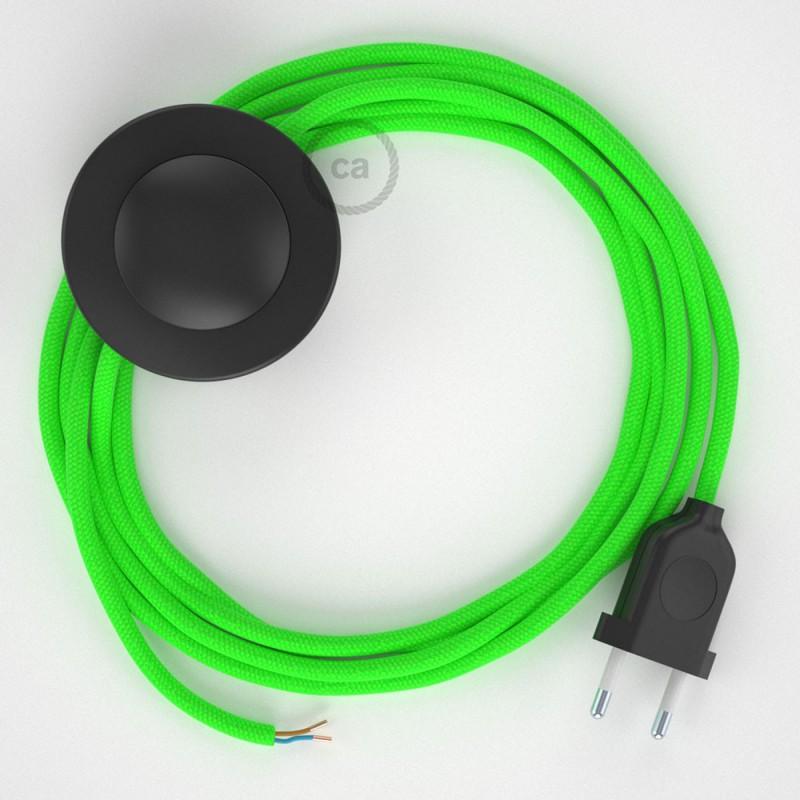 Sladdställ med fotströmbrytare, RF06 Grön Neon Viskos 3 m. Välj färg på strömbrytare och kontakt