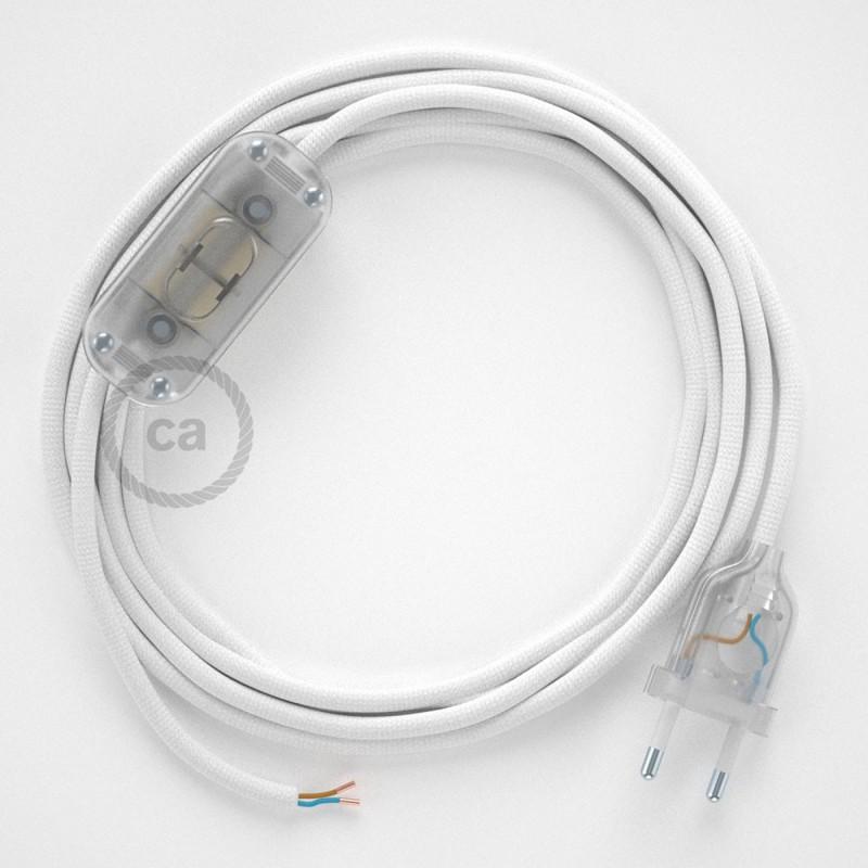 Sladdställ, RM01 Vit Viskos 1,80 m. Välj färg på strömbrytare och kontakt