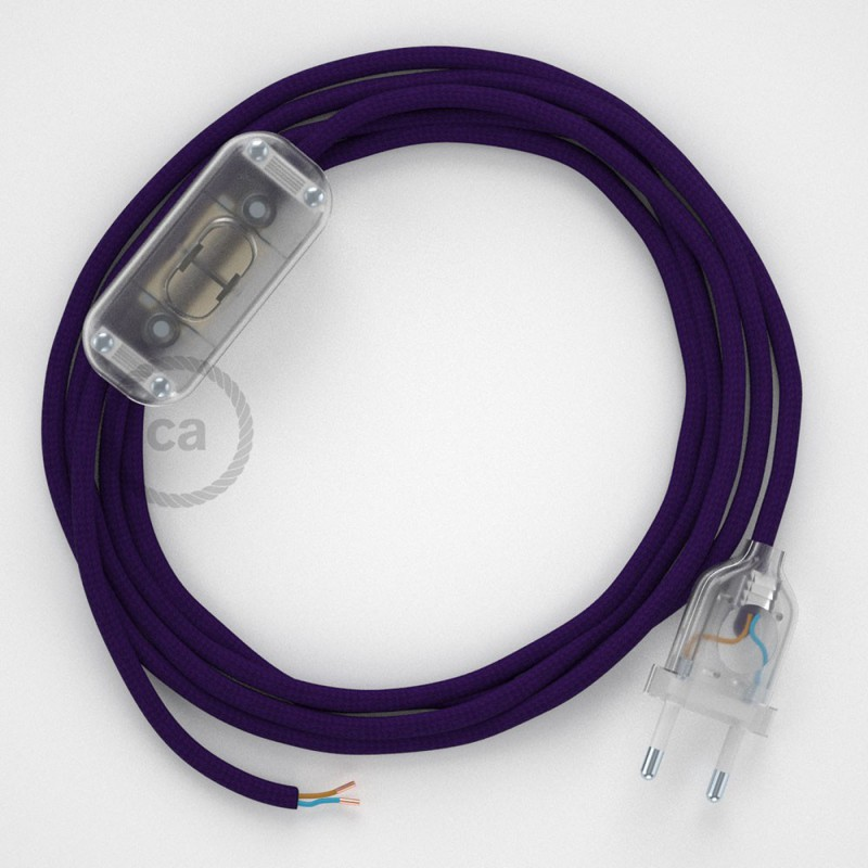 Sladdställ, RM14 Purpur Viskos 1,80 m. Välj färg på strömbrytare och kontakt
