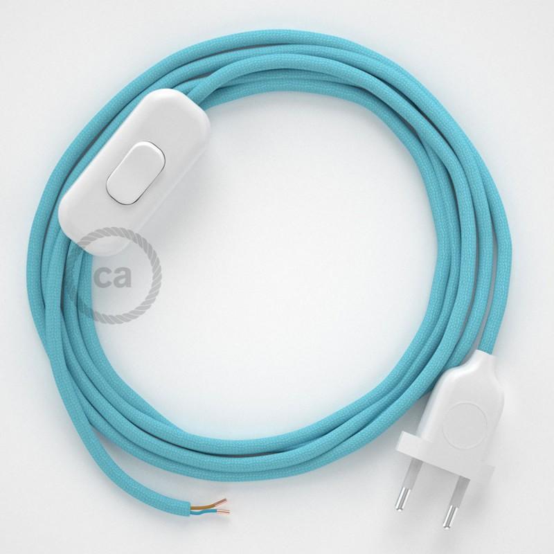 Sladdställ, RM17 Ljusblå Viskos 1,80 m. Välj färg på strömbrytare och kontakt
