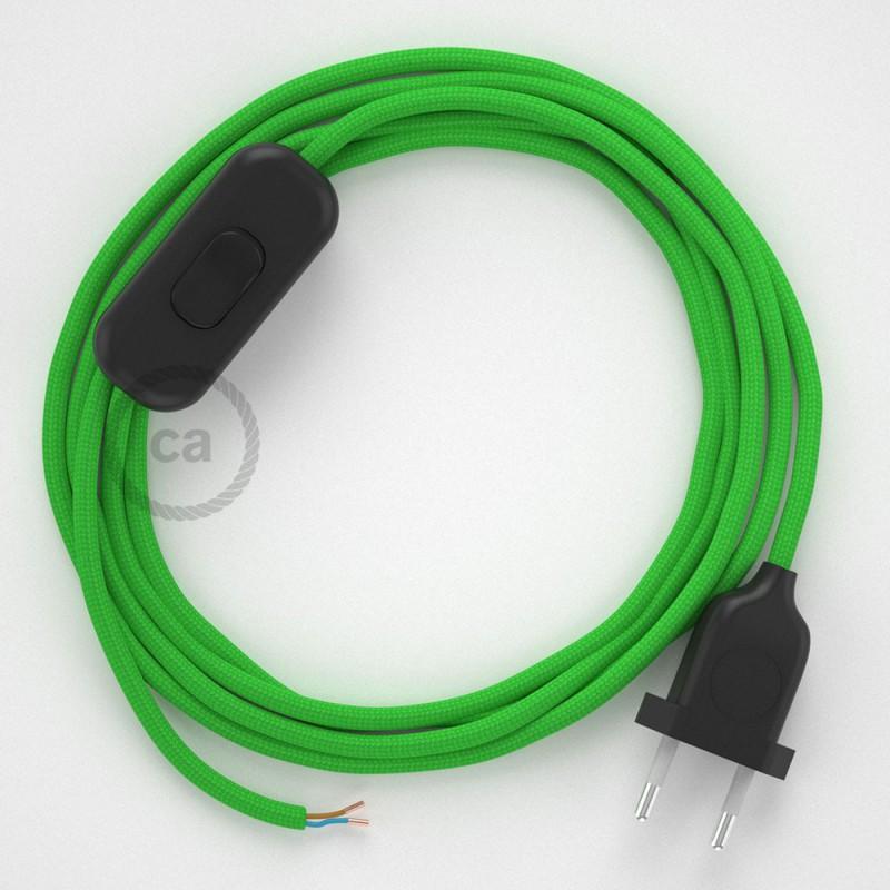 Sladdställ, RM18 Limegrön Viskos 1,80 m. Välj färg på strömbrytare och kontakt