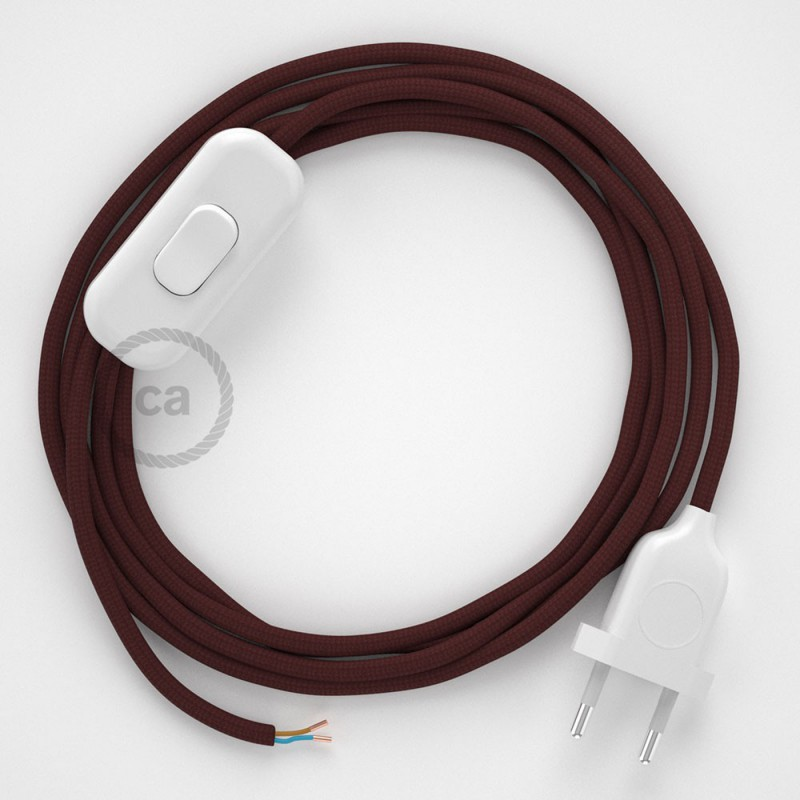 Sladdställ, RM19 Vinröd Viskos 1,80 m. Välj färg på strömbrytare och kontakt