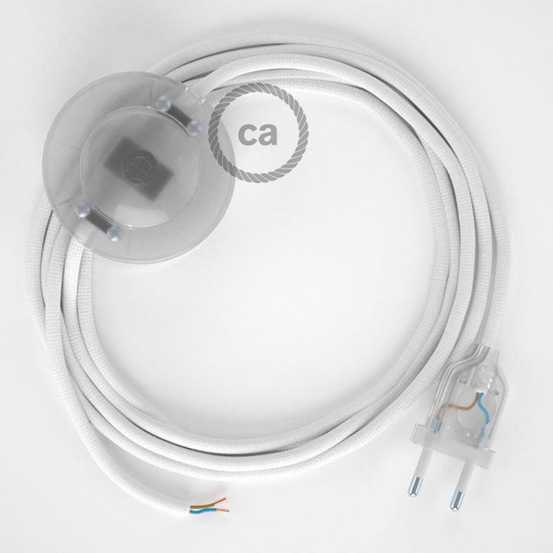 Sladdställ med fotströmbrytare, RM01 Vit Viskos 3 m. Välj färg på strömbrytare och kontakt