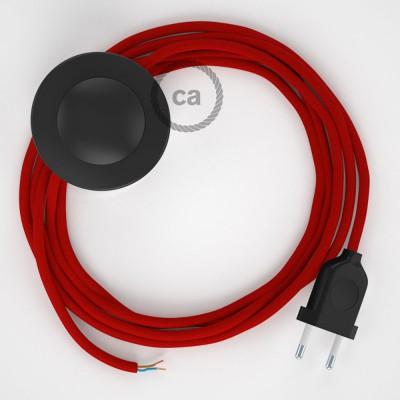 Sladdställ med fotströmbrytare, RM09 Röd Viskos 3 m. Välj färg på strömbrytare och kontakt
