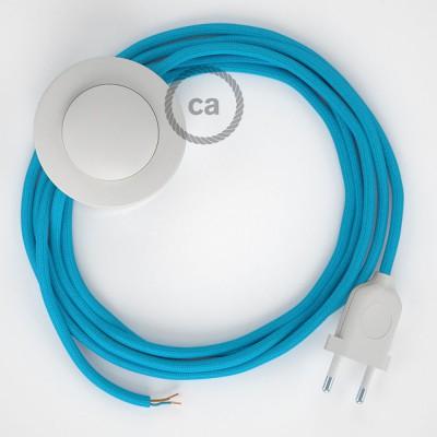 Sladdställ med fotströmbrytare, RM11 Azurblå Viskos 3 m. Välj färg på strömbrytare och kontakt