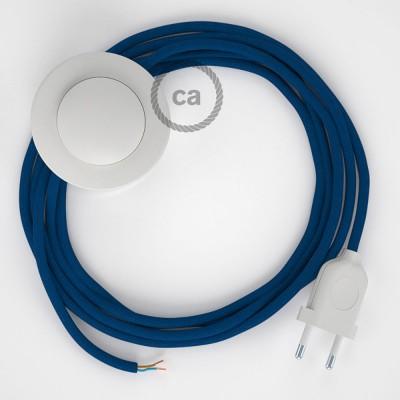 Sladdställ med fotströmbrytare, RM12 Blå Viskos 3 m. Välj färg på strömbrytare och kontakt