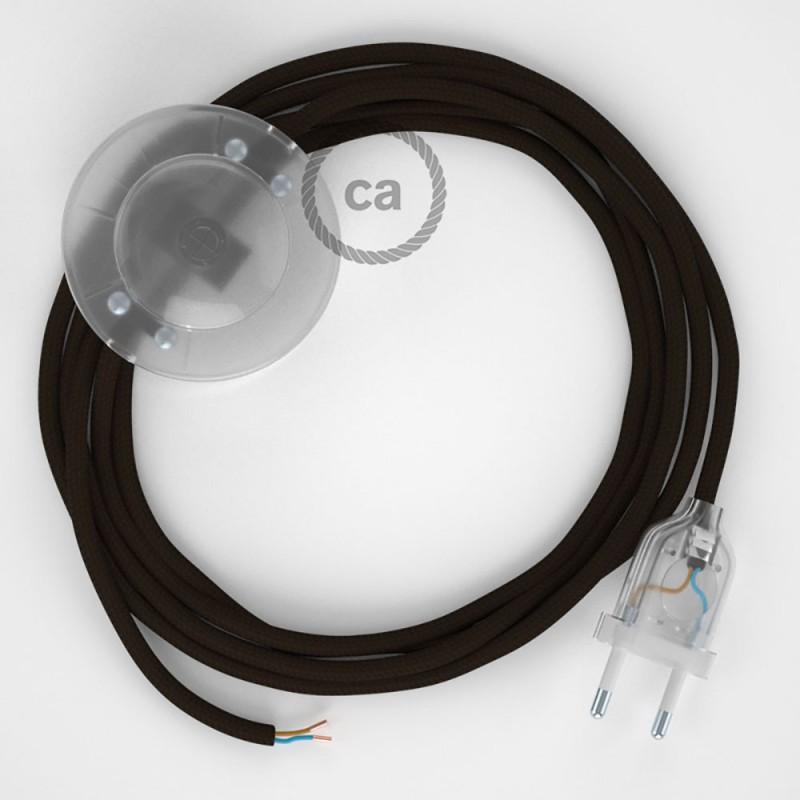 Sladdställ med fotströmbrytare, RM13 Brun Viskos 3 m. Välj färg på strömbrytare och kontakt