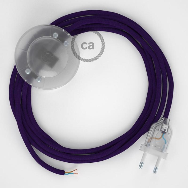 Sladdställ med fotströmbrytare, RM14 Purpur Viskos 3 m. Välj färg på strömbrytare och kontakt